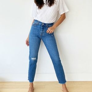 Levi's Wedgie Distressed High Rise Jeans